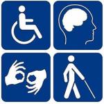 Imagen con una silla de ruedas, lenguaje de signos, una persona con problemas de visión y bastón y una cabeza humana /Documentos interesantes